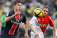 FOOTBALL - FRENCH CHAMPIONSHIP 2010/2011 - L1 - AS MONACO v PARIS SAINT GERMAIN - 7/05/2011 - PHOTO PHILIPPE LAURENSON / DPPI - MEVLUT ERDING (PSG) / LAURENT BONNART (ASM)