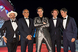 "Jim Carrey, Chris Smith (director), Danny Gabai, Eddy Moretti with Alberto Barbera (chairman of the Mostra) arriving to the premiere of ""Jim & Andy: the Great Beyond - the Story of Jim Carrey & Andy Kaufman with a Very Special, Contractually Obligated Mention of Tony Clifton"" as part of the 74th Venice International Film Festival (Mostra) in Venice, Italy on September 5, 2017. Photo by Marco Piovanotto/ABACAPRESS.COM"