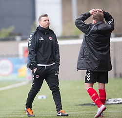 One of Clyde's interim management team JP McGovern after Ross Perry misses a chance. Clyde 2 v 2 Forfar Athletic, Scottish League Two game played 4/3/2017 at Clyde's home ground, Broadwood Stadium, Cumbernauld.