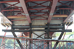 Pearl Harbor Memorial Bridge, New Haven Harbor Crossing Corridor. CT DOT Contract B1 Project No. 92-618 Progress Photography. Northbound West Approaches. Sixth on site photo capture of once every four month chronological documentation. Truss under Ramp I.