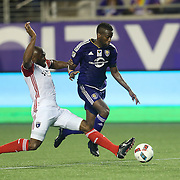 ORLANDO, FL - JUNE 18:  Kevin Molino #18 of Orlando City SC (R) gets tackled by Victor Bernardez #5 of San Jose Earthquakesduring an MLS soccer match between the San Jose Earthquakes and the Orlando City SC at Camping World Stadium on June 18, 2016 in Orlando, Florida. (Photo by Alex Menendez/Getty Images) *** Local Caption ***  Kevin Molino;  Victor Bernardez