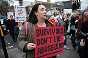 Womens rights protesters gathered outside the Cypriot Embassy before marching to Parliament Square in protest and support of a 19-year-old British woman who has been convicted of falsely claiming that she was raped in a hotel in Ayia Napa by 12 Israeli men in the summer of 2019, on 6th January 2020 in London, England, United Kingdom. The case has caused outrage in the U.K. with #IBelieveHer and #BoycottCyprus being used on social media. She is due to be sentenced on 7th January.