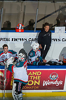 KELOWNA, CANADA - NOVEMBER 11: Athletic therapist Scott Hoyer stands on the bench with James Porter #1, Ethan Hunt #30 and Gordie Ballhorn #4 of the Kelowna Rockets against the Red Deer Rebels on November 11, 2017 at Prospera Place in Kelowna, British Columbia, Canada.  (Photo by Marissa Baecker/Shoot the Breeze)  *** Local Caption ***