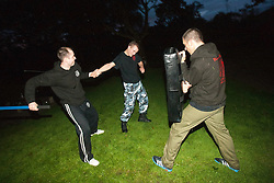 Training in the evening light in the Oaktree pub car park. The start of Krav Island at Balmaha..© pic : Michael Schofield.