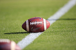 A general view of a Nike football on the field prior to the Alabama Crimson Tide at Auburn Tigers college football game in Auburn, Alabama, November 30, 2019. Auburn won 48-45. Paul Abell/Athlon Sports
