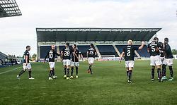 Falkirk's Lee Miller cele scoring their goal. Falkirk 1 v 0 Dumbarton, Scottish Championship game played 27/8/2016 at The Falkirk Stadium .