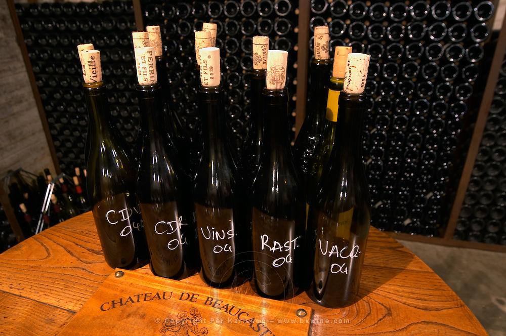Bottle samples of various Beaucastel wines Chateau de Beaucastel, Domaines Perrin, Courthézon Courthezon Vaucluse France Europe