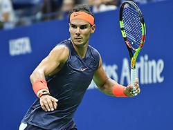 September 4, 2018 - Flushing Meadow, NY, U.S. - FLUSHING MEADOW, NY - SEPTEMBER 04: Rafael Nadal (ESP) in action during his quarter final match in the Men's Singles Championships of the US Open on September 4, 2018, at the Billie Jean King Tennis Center in Flushing Meadow, NY. (Photo by Cynthia Lum/Icon Sportswire) (Credit Image: © Cynthia Lum/Icon SMI via ZUMA Press)