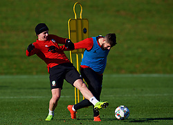 CARDIFF, WALES - Sunday, November 18, 2018: Wales' Ben Woodburn and Kieron Freeman during a training session at the Vale Resort ahead of the International Friendly match between Albania and Wales. (Pic by David Rawcliffe/Propaganda)