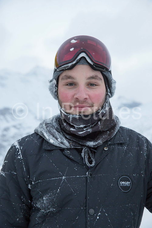 Rowan Coultas after jumping on the brand new GB Park & Pipe winter training facility in Mottolino Snow Park on 4th December 2017 in Livingo, Italy. The Big Air Bag is the first of its kind and has been developed by the GB Park & Pipe's Hamish McKnight and Lesley McKenna. The air bag was built by BigAirBag company from Holland.