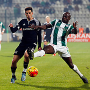 Bursaspor's Dany Nounkeu (R) and Besiktas's Sosa (L) during their Turkish Super League soccer match Bursaspor between Besiktas at the Ataturk Stadium in Bursa Turkey on Sunday, 08 November 2015. Photo by Aykut AKICI/TURKPIX