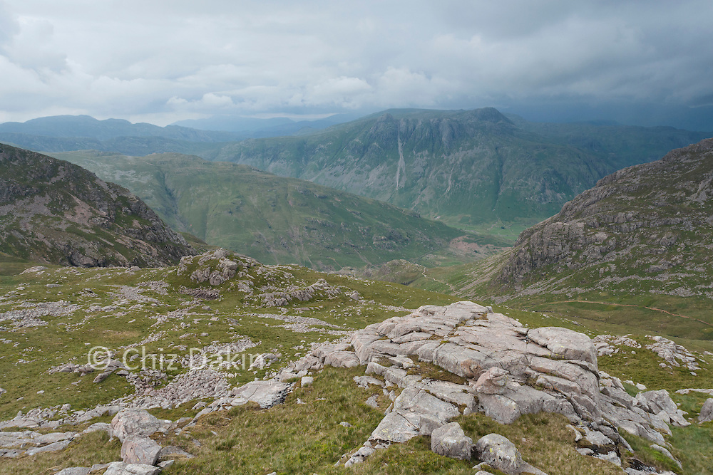 View towards Langdale from summit of Cold Pike