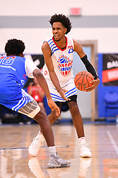 June 3, 2018 - Norwalk, CA, U.S. - NORWALK, CA - JUNE 03: PJ Fuller. from Garfield High School looks to attack off the dribble during the Pangos All-American Camp on June 3, 2018 at Cerritos College in Norwalk, CA. (Photo by Brian Rothmuller/Icon Sportswire) (Credit Image: © Brian Rothmuller/Icon SMI via ZUMA Press)