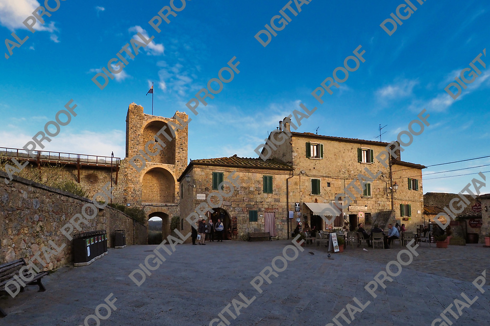 View of Porta Franca in Monteriggione medieval town in Tuscany Italy from Piazza Roma