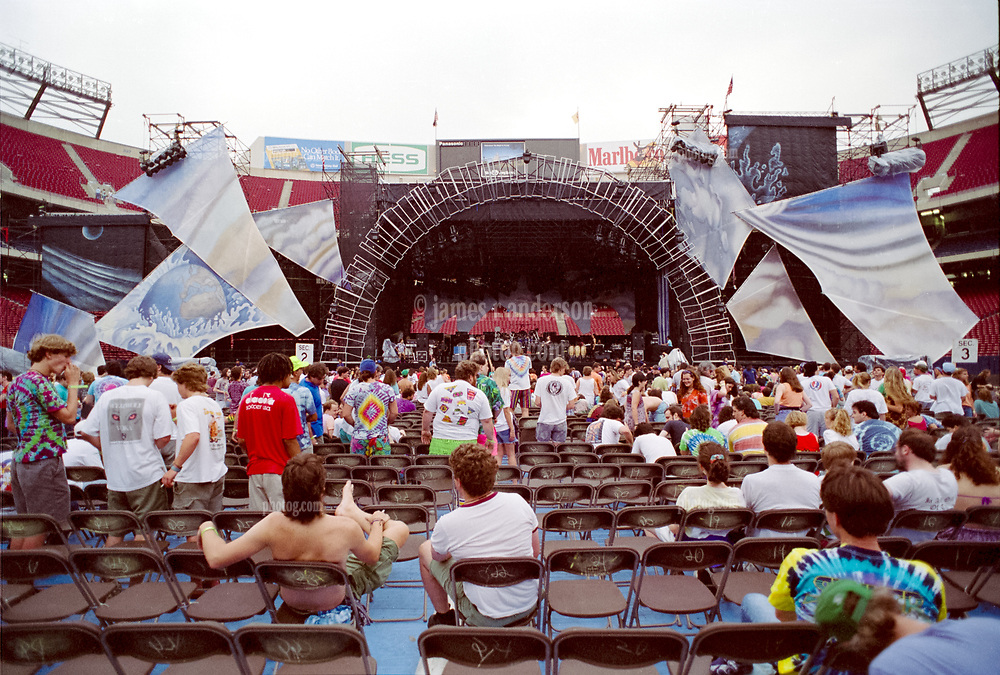 The Grateful Dead Live in Concert at Giants Stadium June 17, 1991. Daytime Stage Design Capture Image.
