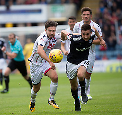 Ross County's Ryan Dow and Dundee's Cemeron Kerr.  half time : Dundee 0 v 1 Ross County, Scottish Premiership game played 5/8/2017 at Dundee's home ground Dens Park.