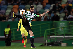 February 14, 2019 - Lisbon, Portugal - Sporting's midfielder Bruno Fernandes from Portugal in action during the UEFA Europa League Round of 32 First Leg football match Sporting CP vs Villarreal CF at Alvalade stadium in Lisbon, Portugal on February 14, 2019. (Credit Image: © Pedro Fiuza/NurPhoto via ZUMA Press)
