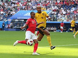 July 14, 2018 - St. Petersburg, Russia - July 14, 2018, St. Petersburg, FIFA World Cup 2018, Football match for the third place in the World Cup. Football match of Belgium - England at the stadium of St. Petersburg. Player of the national team Raheem Stirling (10), Vincent Company  (Credit Image: © Russian Look via ZUMA Wire)