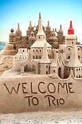 Elaborate welcome sandcastle on Copacabana Beach in Rio de Janeiro, Brazil