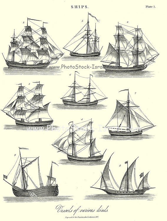 Ships Vessels of various kind Copperplate engraving From the Encyclopaedia Londinensis or, Universal dictionary of arts, sciences, and literature; Volume XXIII;  Edited by Wilkes, John. Published in London in 1828