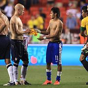 Neymar, Brazil, (centre) swaps shirts with Michael Bradley, USA after  the USA V Brazil International friendly soccer match at FedEx Field, Washington DC, USA. 30th May 2012. Photo Tim Clayton