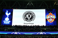 the Score board displaying the Chapecoense crest as Both teams observe a minutes silence in respect of the Chapecoense players and others who were killed in a plane crash.UEFA Champions league match, group E, Tottenham Hotspur v CSKA Moscow at Wembley Stadium in London on Wednesday 7th December 2016.<br /> pic by John Patrick Fletcher, Andrew Orchard sports photography.