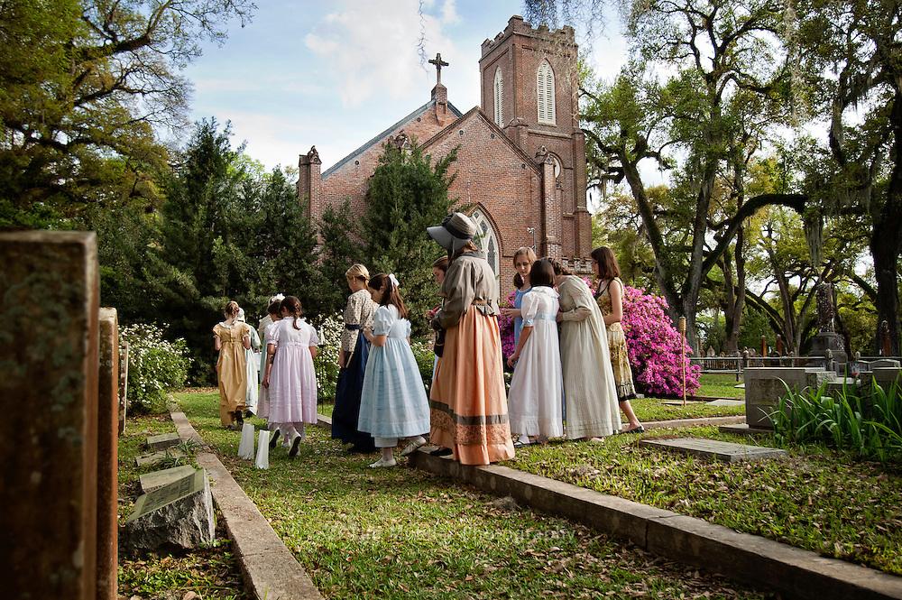 Cemetery tour of Grace Episcopal Church in St. Francisville, La. during the 41st Audubon Pilgrimage.