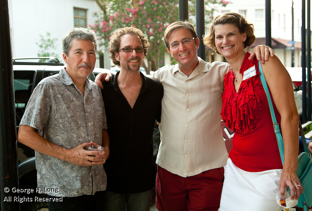 """Owen Murphy, Mead Jones, George Long, and Michelle Wuttke at New Orleans Photo Alliance opening reception for the group show """"Caliente"""", juried by Jose Torres Tama"""
