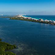 Aerial view of Nichupte Lagoon with the hotel zone in the background. Cancun, Mexico.