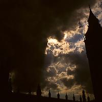 United Kingdom, Great Britain; England; London. Big Ben against dark sky.