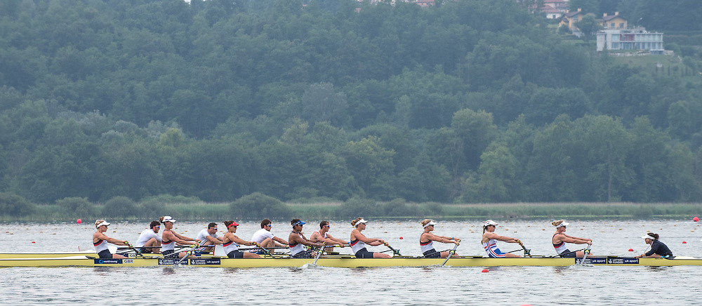 Varese. ITALY.  GBR W8= and the GBR M4- training at the  2015 FISA World Cup II' Venue Lake Varese. Thursday  18/06/2015 [Mandatory Credit: Peter Spurrier/Intersport-images.com]