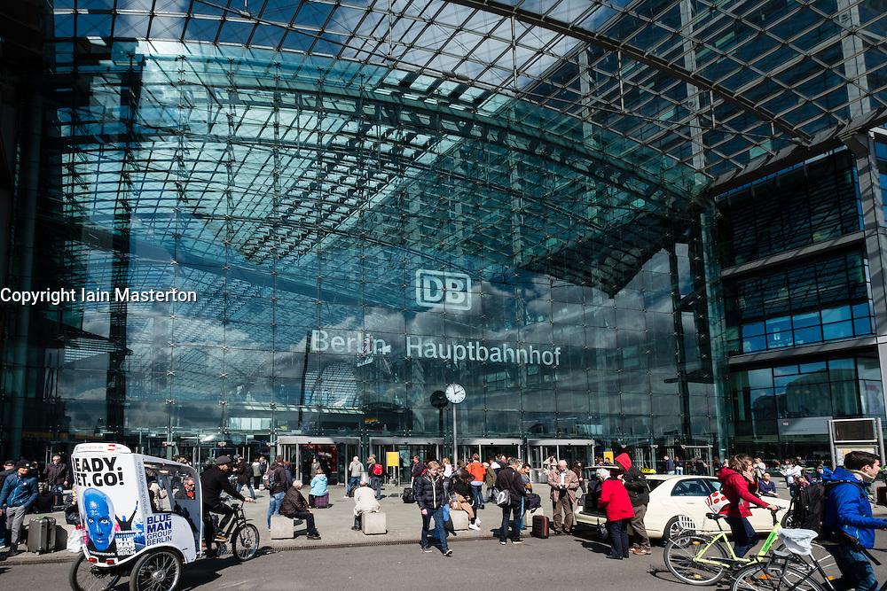 Exterior view of Berlin Hauptbahnhof main railway station in Germany