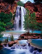 Havasu Falls with travertine pools, Havasu Canyon of the Grand Canyon, Havasupai Reservation, Arizona.
