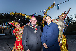 The Lord Provost of Edinburgh, Frank Ross, unveils the Sharing the Ramayana: The story of Diwali, an exhibition of 15 stunning illuminated Indian puppetry tableaux.<br /> <br /> Pictured: Participants in the Edinburgh Diwali celebrations with Lord Porvost of Edinburgh, Frank Ross and Mrs Anju Ranjan, Consul General of India for Scotland
