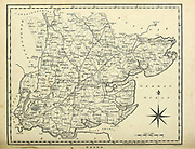 Essex is a county in the East of England, north-east of London. One of the home counties, it borders Suffolk and Cambridgeshire to the north, Hertfordshire to the west, Kent across the estuary of the River Thames to the south and London to the south-west. The county town is Chelmsford, the only city in the county.  Copperplate engraving From the Encyclopaedia Londinensis or, Universal dictionary of arts, sciences, and literature; Volume VII;  Edited by Wilkes, John. Published in London in 1810