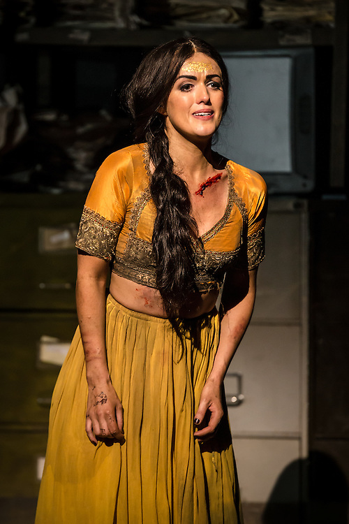 """LONDON, UK, 17 October, 2016.  Claudia Boyle (as """"Leila"""") rehearses for the revival of director Penny Woolcock's production of Bizet's opera """"The Pearl Fishers"""" at the London Coliseum for the English National Opera.  The production opens on 19 October."""