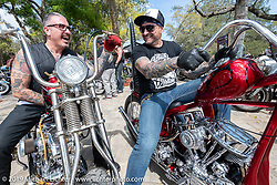 Telly on his Shovelhead and Jerry Merola on his Panhead at Warren Lane's True Grit Antique Gathering bike show at the Broken Spoke Saloon in Ormond Beach during Daytona Beach Bike Week, FL. USA. Sunday, March 10, 2019. Photography ©2019 Michael Lichter.