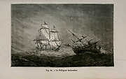 19th century Woodcut print on paper of Le voltigeur hollandais ship from L'art Naval by Leon Renard, Published in 1881