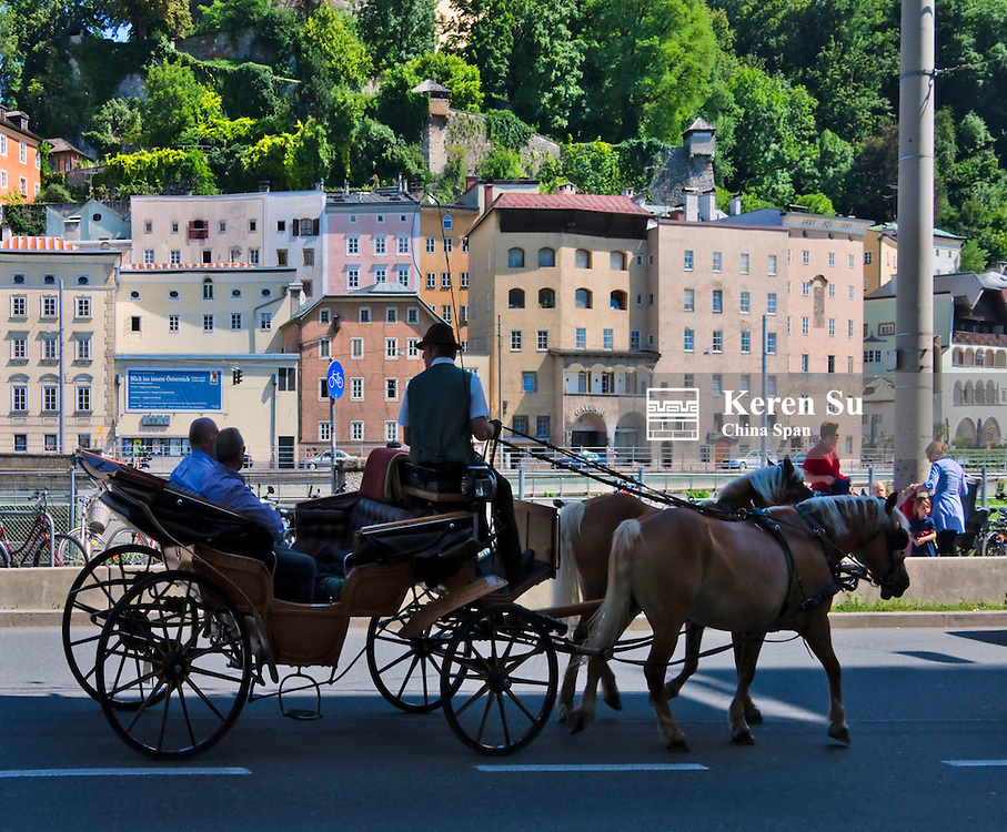 Horse carriage in the old town, Salzburg, Austria