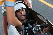 Sebastiaan Bowier na aankomst in de VeloX2 van zijn race. In de buurt van Battle Mountain, Nevada, strijden van 10 tot en met 15 september 2012 verschillende teams om het wereldrecord fietsen tijdens de World Human Powered Speed Challenge. Het huidige record is 133 km/h.<br /> <br /> Sebastiaan Bowier at his arrival with the VeloX2 on the third racing day of the WHPSC. Near Battle Mountain, Nevada, several teams are trying to set a new world record cycling at the World Human Powered Speed Challenge from Sept. 10th till Sept. 15th. The current record is 133 km/h.