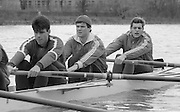 Chiswick. London.<br /> Eights starting from Mortlake<br /> left to right. John GARRETT, John MAXEY and Terry DILLON.<br /> 1987 Head of the River Race over the reversed Championship Course Mortlake to Putney on the River Thames. Saturday 28.03.1987. <br /> <br /> [Mandatory Credit: Peter SPURRIER;Intersport images] 1987 Head of the River Race, London. UK