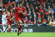 Joe Gomez of Liverpool in action. Premier League match, Liverpool v Huddersfield Town at the Anfield stadium in Liverpool, Merseyside on Saturday 28th October 2017.<br /> pic by Chris Stading, Andrew Orchard sports photography.