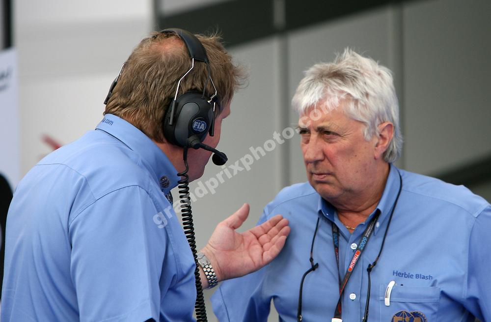 FIA officials Jo Bauer and Herbie Blash after the 2009 Bahrain Grand Prix. Photo: Grand Prix Photo