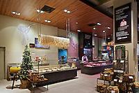 "Interior of ""Good Wine"" gourmet supermarket in Kyiv, Ukraine"