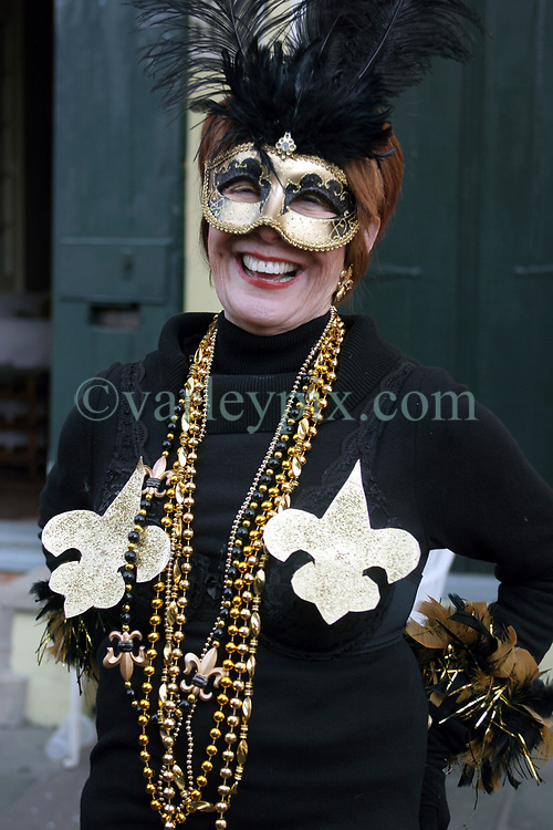 07 February 2010. New Orleans, Louisiana, USA. <br /> Super Bowl XL1V. <br /> Joyce Young. New Orleans Saints fans gather in the French Quarter in anticipation of the big game in Miami later in the day as the home team goes head to head with the Indianapolis Colts for Super Bowl 44. <br /> Photo ©; Charlie Varley/varleypix.com