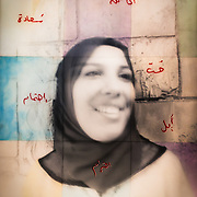 """""""Us & Them, Palestine #1"""" Photo shot with the """"Us & Them"""" camera in the Palestinian Territories, 2016.  The hand written """"Words from the Heart"""", in Arabic it reads;<br />  """"Love, Hope, Happiness, Respect, Caring"""" <br /> <br /> 48""""X60"""" analog print, made of 9 sheets of 16""""x20"""" gelatin silver paper, mounted in a steel frame with 5 gallons of UV acrylic resin covering the image.<br />  1/1, 2017."""