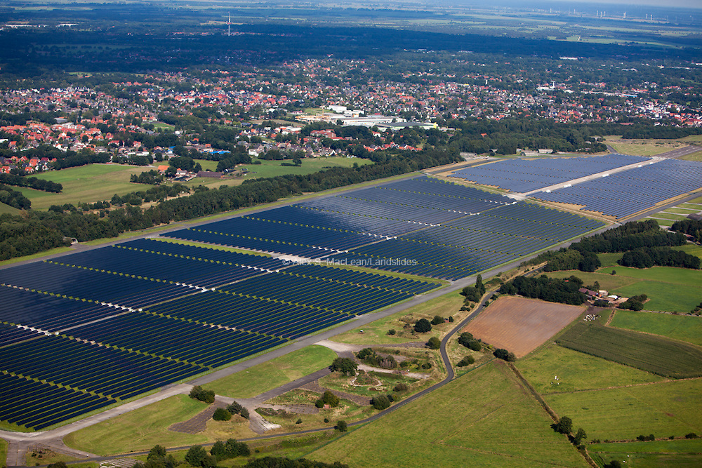 The Solar Park Aerodrome Oldenburg  produces an output of 13.9 megawatts, about 13 million kilowatt hours of electricity annually - and thus provides power for about 3,200 four-person households. It was completed at the end of 2011 on an old military airbase.