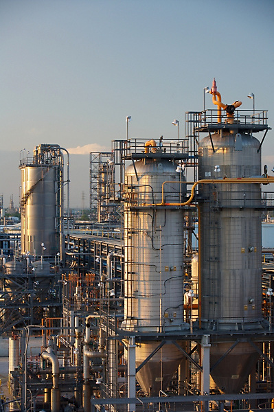 Stock photo of large chemical plant storage tanks