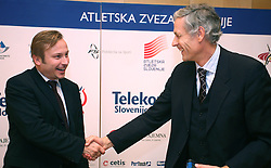 President of AZS dr. Peter Kukovica and Dusan Prezelj when Athletic Federation of Slovenia (AZS) and top Slovenian athletes sign a contract of sponsorship, on February 14, 2008 in M-Hotel, Ljubljana, Slovenia. (Photo by Vid Ponikvar / Sportal Images)