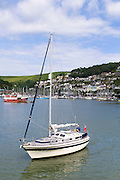 Sailing boats in the harbour of River Dart at coastal resort of Dartmouth in South Devon, England, UK